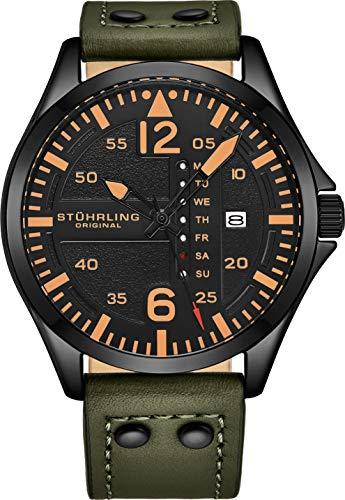 Stuhrling Original Herren Analog Sport Aviator Uhr, Quick-Set Day-Date, Lässiges Lederband (Green)