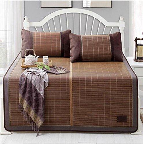 Coole Matratze Doppelseitige Matten, wenn die Bambusmatte gefaltet werden kann Bambus Matten Matten drei Sätze (ein Sitz zwei Bambus Kissenbezüge) 200 * 220cm auf der Falte Coole Bambusmatte ( Farbe : Single seats , größe : 135*198cm )