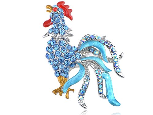 r Tone Aquamarine Farbige Strass Chicken Hahn Vogel Brosche Pin (Ton Ton Chicken)