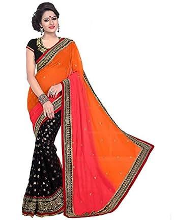 Janasya Women's Multicolor Net Saree (JNE0875-C)