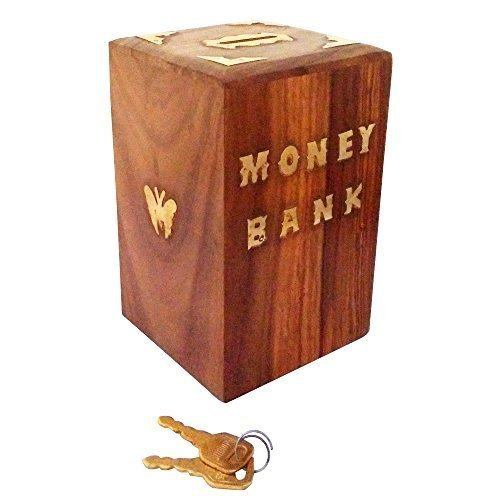 (fazzilet) Money/Piggy Bank/Coin Collecting Storage Wooden gullak with Lock and Keys