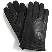 "Mens Black Luxury Genuine Leather Gloves with Sheepskin Wool Lining by Bushga - Medium (9"") - Large (9.5"") - X-Large (10"")"