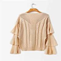 Señoras Suéter, Suelta De Manga, Jersey De Punto,Khaki,Código Uniforme