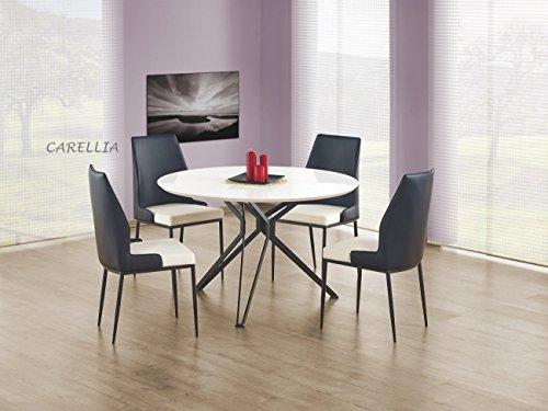 Table A Manger Ronde Ø : 120 CM Couleur : Blanc/Noir
