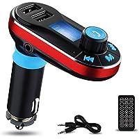 Trasmettitore FM Bluetooth da Auto, Yokkao® Lettore MP3 da Auto Bluetooth Supporta Chiamata Vivavoce/ SD/ Penna USB/ AUX/ FM, Caricatore da Auto con Dual Porte USB per Ricaricare iPhone 6s/ iPhone 6s Plus/ Huawei/ iPad (Rosso)