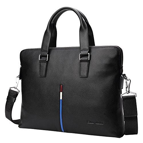 BISON DENIM Herren klassische Leder Aktenkoffer Laptop Schulter Messenger Bag Business Tote (N2698-Schwarz) (Bag Messenger Schwarze)