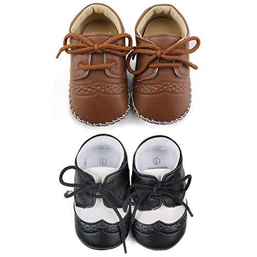DELEBAO Babyschuhe Baby Turnschuhe Neugeborenen Junge Schuhe Krabbelschuhe Aus Leder Weiche Sneaker für Kleinkinder (Schwarz,Braun(2 Paar),0-6 Monate)