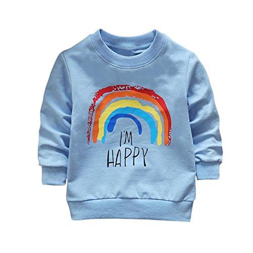 SHOBDW Boys Tops, Toddler Kids Girls Fashion Elephant Rainbow Long Sleeve Soft Tops T-Shirt Spring Autumn Clothes