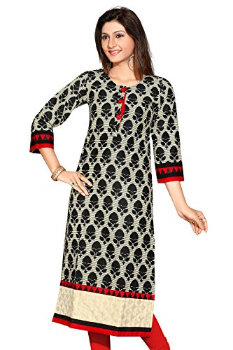 Desi Aura Straight Fit Long Fancy Cotton Printed Kurtis For Fashionable Women(Pack of 1)