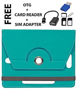 Jkobi Tablet Book Flip Case Cover For Samsung Galaxy Tab 4 (Universal) FREE OTG + Card Reader + Sim Adapter Sky Blue