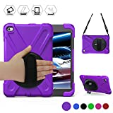 Ipad Mini4 Shockproof Case,BRAECN Three Layer Drop Protection Rugged Protective Heavy Duty IPad Case With a 360 Degree Swivel Stand/a Hand Strap and a Shoulder Strap For iPad Mini 4 Case (Purple)