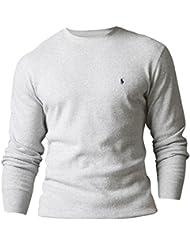 Polo Ralph Lauren Hommes / Garçons à Manches Longues En Tricot Gaufré Thermique T-shirt jour d'usure usure / sommeil Lumière Gris XL