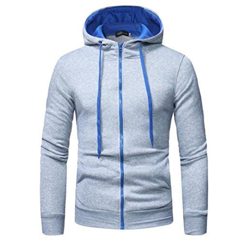 MRULIC Herren Herren Langarm Hoodie mit Kapuze Sweatshirt Tops Jacke Mantel Outwear(Weiß,EU-50/CN-3XL)