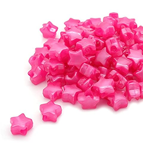 Beads Unlimited Bath Pearl Plastic Star Pony, Pink, 13 mm