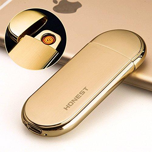 Feuerzeug, Wolframcarbid, Sensor reagiert auf Schütteln, ultra dünn, USB, wiederaufladbar, Edelstahlgehäuse, elektronische Spule - gold