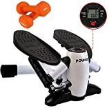 POWRX Gymnastik Set I Mini Stepper inkl. Neopren Hantel Paar 1,5 kg I Side Stepper mit LCD...