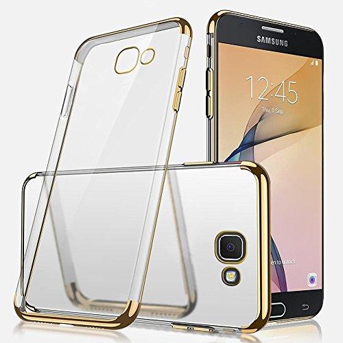 Uposao Kompatibel mit Handyhülle Galaxy J7 Prime/On7 2016 Hülle Silikon Transparent Durchsichtig Handy Hülle Plating TPU Case mit Überzug Farbig Rahmen Hülle Klar Silikonhülle Bumper,Gold