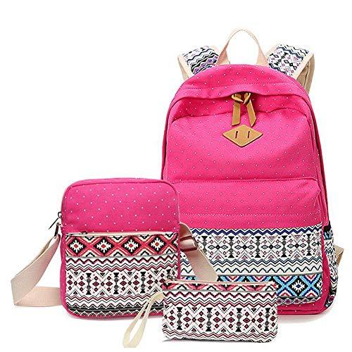 Teenager Mädchen College Student Rucksack Leinwand Student Rucksack 3-teiliges Set, leichte College Rucksack Messenger Bag Federmäppchen Multifunktions-Taschen (Farbe : 6)