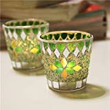 Tradico Handicraft Mosaic Glass Beads Sequin Candle Stick Candle Holder Candelabra Home Decor Gift
