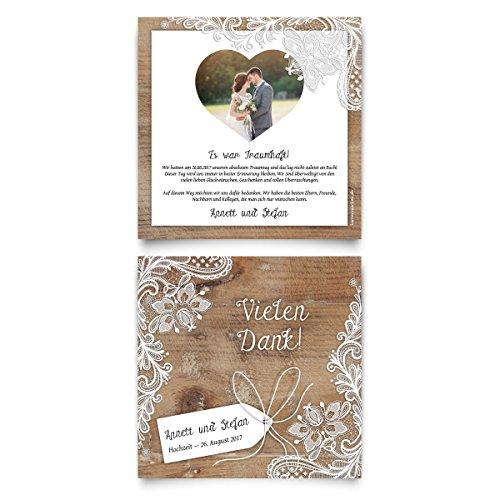 Danksagungskarten (40 Stück) - Rustikal in Weiß - Dankeskarten Danksagung Hochzeit