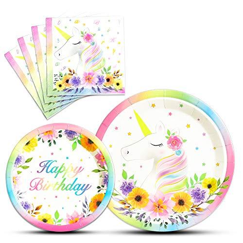 WERNNSAI Einhorn Geburtstag Partyzubehör für Mädchen - 48 Stücke Platte und Servietten Einhorn Thema Einweg Geschirr Set zum Mittagessen Abendessen Dessert (für 16 Gäste) Dinner Servietten Floral