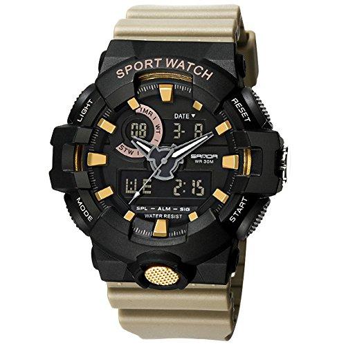 Multifunktio Outdoor Sport Uhren Mit Silikonband /30M Wasserdicht/Chronograph/Weckerfunktion/Dual Time Zone/Tag- Und Nacht-Anzeige(Khaki)