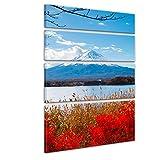 """Bilderdepot24 Immagine su telaio a cunei """"Fuji in autunno"""" 120x180 cm set 4 pezzi - Già montato sul telaio, stampa su tela di cotone 100%, Stampa artistica intelaiata e pronta da appendere"""