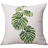Leisial Tropische Pflanzen Zierkissenbezüge Kissen-Bezug Kissen Cover Für Kissen Sofakissen,45x45CM,1 Stück,Tropische Pflanzen 3