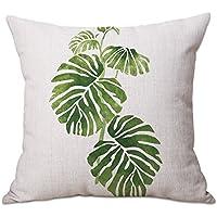 Cosanter Funda de cojín con estampado tropical de plantas verdes de 45 cm para decoración de sofás de casa