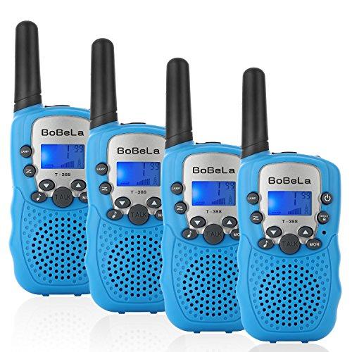 (Bobela T388 Funkgeräte Kinder Walkie Talkie Set mit lampe LCD Dispplay / VOX PMR Lizenzfrei Walky Talky 8 Kanäle 0.5w 3km Walki Talki Geschenke für Kinder ab 3 5 8 Jahre (4er-Set, Blau))