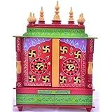 Wooden Home Temple/Wooden Pooja Mandap/Wooden Pooja Mandir with Bulb