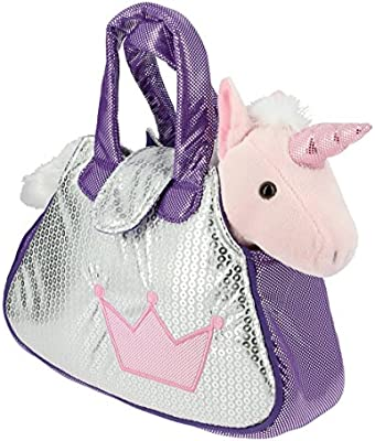 Bolso brillante plata y lila con un Unicornio rosa de Peluche- 28cm Calidad Soft