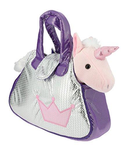 Tasche-helle-Silber-und-Violett-mit-einem-rosa-gefllte-Einhorn-plsch-28cm-Qualitt-soft