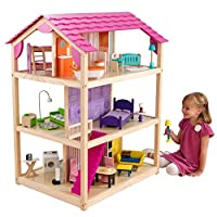 KidKraft 65078 So Chic Wooden Dolls House with Furniture and Accessories Included, 3 Storey Play Set for 30 cm/12 Inch Dolls