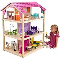 KidKraft 65078 Casa de muñecas de madera So Chic para muñecas de 30cm con 46 accesorios incluidos y 3 niveles de juego