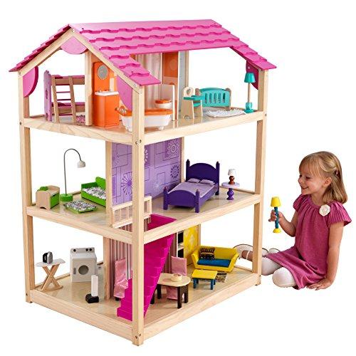 KidKraft 65078 Maison de poupées en bois So Chic incluant accessoires et mobilier, 3 étages de jeu pour poupées 30 cm