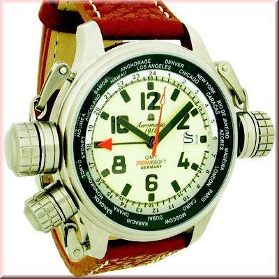Aeromatic 1912 A1286 Aeromatic A1286 - Reloj , correa de cuero color marrón