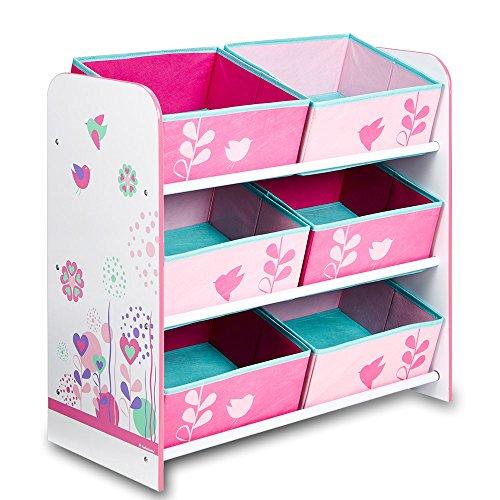 TW24 Aufbewahrungsregal - Spielzeugkiste - Kinderregal - Regal 6 Boxen Mädchen und Jungs mit Motivwahl (Blumen)