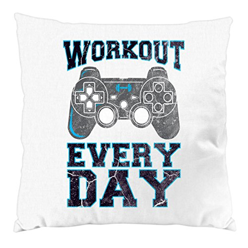 style3 Gamer Workout Kissen mit Füllung 28 x 28 cm Baumwollbezug, Farbe:Weiß (Playstation Ps4 Home)