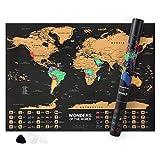 Norjews Weltkarte Zum Rubbeln, Personalisiertes Weltkarte Poster um Reisen zu verfolgen - Landkarte Zum Freirubbeln, inkl. Geschenk Rubbelwerkzeug und Lupe (Gold/Schwarz, 55 x 42cm)