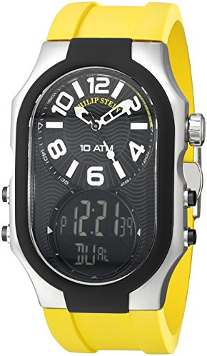 Philip Stein Men's 'Signature' Quartz Steel-Two-Tone and Rubber Casual Watch, Color:Yellow (Model: 3RB-AD-RY)
