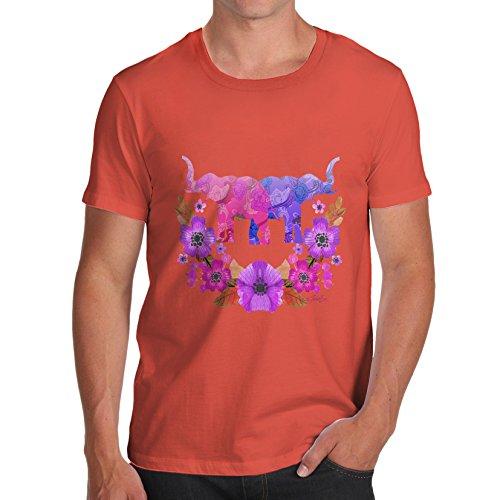 Herren Elephant Flower Power T-Shirt Orange