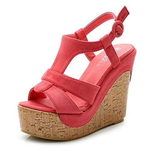 LvYuan Sandali / ufficio / carriera / scarpe ultra sexy / piattaforma impermeabile sexy / tallone / chiodo / stile nazionale Bohemian watermelon red