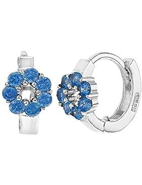 In Season Jewelry Mädchen– Creolen Ohrringe Kleine Blume 925 Sterling Silber Blau CZ Zirkonia 8mm