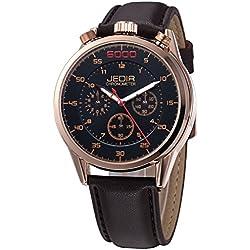 YPS Men Number Nail Shape Scale Quartz Movement Multifunction Sub Dials Luminous Wristwatch WTH5374
