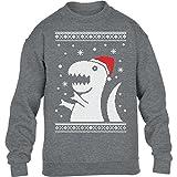 KIDS - T-Rex Santa Weihnachtspullover Motiv Witzig Kinder Pullover Sweatshirt Medium Grau