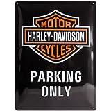 Nostalgic Art Harley Davidson Parking Only - Placa decorativa, metal, 30 x 40 cm, color negro y naranja