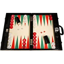 Wycliffe Brothers Tournament Backgammon Set - Black Croco with Cream Field (green points) - Gen III