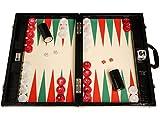 Tablero de Backgammon para torneos Wycliffe Brothers - Diseño de cocodrilo en negro con campo color crema (puntos verdes) - Gen III