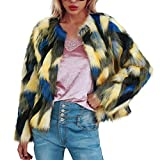 Frauen Winter Warm Bunte Piecing Faux Pelzmantel Jacke Shaggy Frauen Kunstpelzmantel Damen Jacke, Faux Fur Jacke Warm Winterjacke Parka Outwear Strickjacke Mantel Plüschjacke Steppjacke Outwear